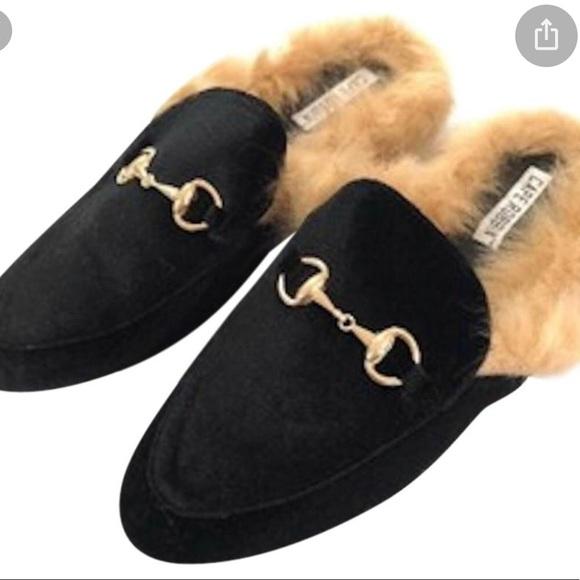 Black Mules With Faux Fur   Poshmark